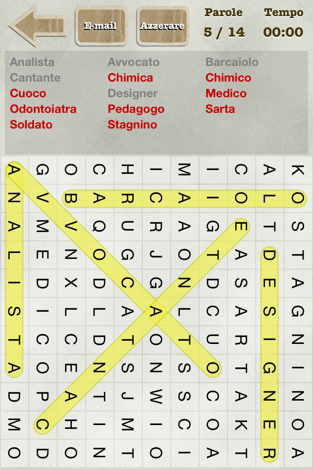 Screenshot Parole Intrecciate (Italian Word Search)